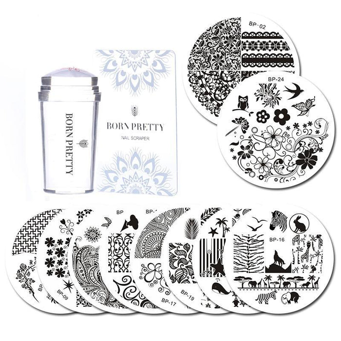 10 Pcs Stamping Plate with Clear Jelly Stamper Set Flower Lace Round Nail Art Template Image Plate Kit