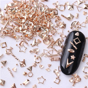 Rose Gold Star Shell Nail Studs Rivet Round Square Triangle Ocean Tips Manicure 3Ds - Goamiroo Store