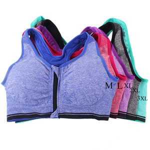 Professional Plus Size Women Sports Bras Stretch Shockproof Fitness Zipper Tops - Goamiroo Store