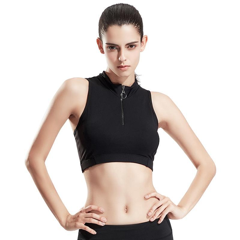 MAIJION Sexy Women Half Zipper Sports Bra Wirefree Gym Fitness Running Yoga Bras High Collar Slim Sport Cropped Tops Padded Vest