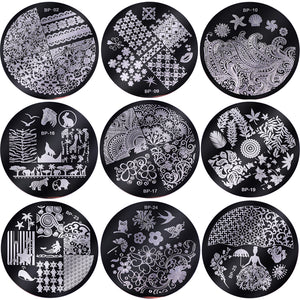 10 Pcs Stamping Plate with Clear Jelly Stamper Set Flower Lace Round Nail Art Template Image Plate Kit-GoAmiroo Store