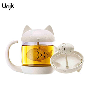 Cute Cat Monkey Tea Infuser Cup Glass Mug Teapot Teabags Mugs Couples Cups - Goamiroo Store