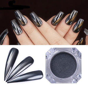 Black Mirror Nail Glitter Powder 1G Gun Metal Color Dazzling Shining Chrome Pigment Dust Paillettess - Goamiroo Store