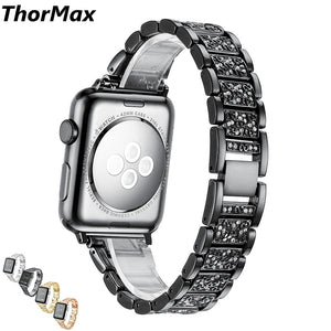 Glisten Diamond Watch Band Luxury Stainless Steel Bracelet Shiney Bling Strap Watchbands For Apple Watch Series 1/2/3 38/42Mm - Goamiroo