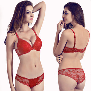 Gather Underwear Women Set Cotton Thick Red Brassiere Lace Sexy Bra Set Plus Size C D Cup Push Up Bra And Panties Set Lingerie - Goamiroo