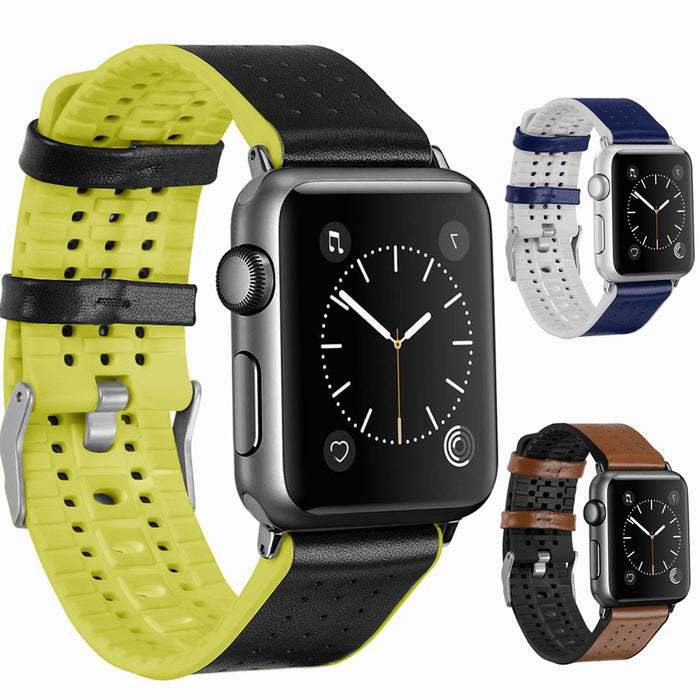 ThorMax Italy Calf Leather TPU Rubber Watch Band for Apple Watch Band Strap for iwatch Series 3 2 1 42MM 38MM