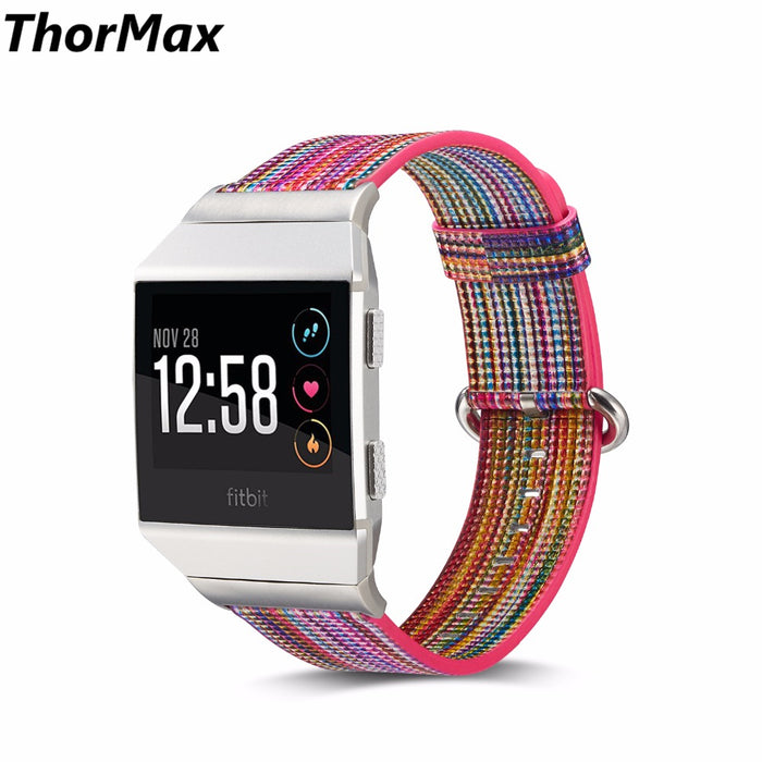 Genuine Leather ColorfulPattern Stripe Band for Fitbit ionic Watchband Replacement Strap men/women bracelet thormax