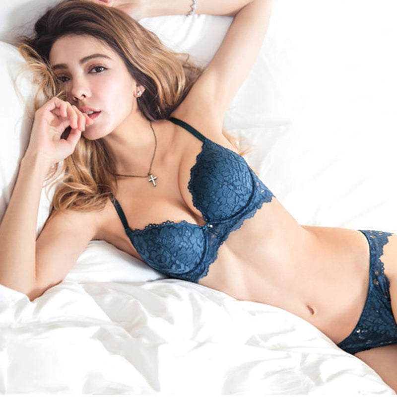 2d3df352ba2be Hot Sexy Push Up Bra Set Brand Deep V Brassiere Thick Cotton Women  Underwear Set Lace Blue Embroidery Flowers Lingerie B C Cup