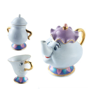 Beauty And The Beast Tea Set Mrs Potts Chip Teapot Cup Set Lovely Porcelain - Goamiroo Store