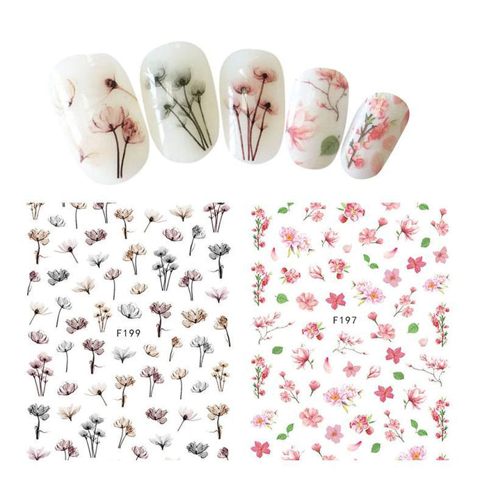 Flower Series Nail Water Decal Stickers Sakura Daisy Lavender Floral Pattern Transfer Sticker Manicure