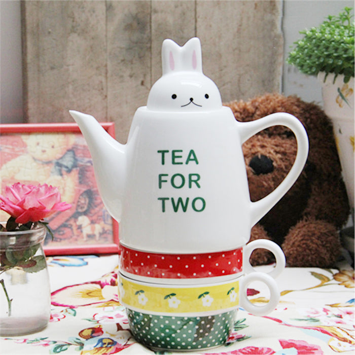 Rabbit Head Cover Tea For Two Ceramic Teapot With 2 Cup Leisure English 3 Overlapping Cup Pot Suit