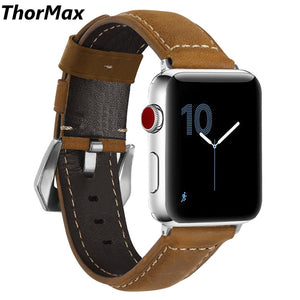 Thormax Crazy Horse Skin 100% Genuine Leather For Apple Watch Band Strap For Iwatch Series 3 2 1 42Mm 38Mm - Goamiroo Store
