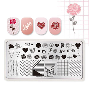Valentine Nail Art Stamping Plate Love Heart Pattern Manicure Image Template Stencil - Goamiroo Store