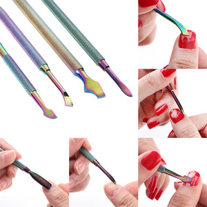 Dual-Ended Chameleon Nail Cuticle Pusher Remover Rainbow Stainless Steel Manicure 4 Patterns - Goamiroo Store