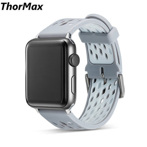 Thormax For Apple Watch Soft Sport Silicone Double-Color Watchband Men/women For Series 1/2/3 38/42Mm Colorful Strap - Goamiroo Store