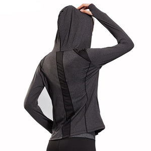 Women Quick Dry Hooded Running Jackets Long Sleeve Fitness Running - Goamiroo Store