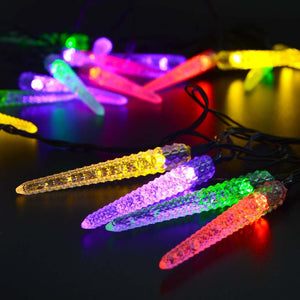 Solar Powered Led Christmas Outdoor Light String 16Ft 20Led Icicle String Light - Goamiroo Store