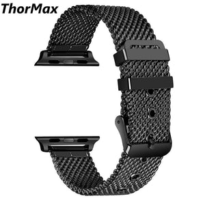 Thormax For Apple Watch Coarse Mesh Stainless Steel Strap Watchband Series 1 Series 2 Series 3 With Classic Buckle 38/42Mm - Goamiroo Store