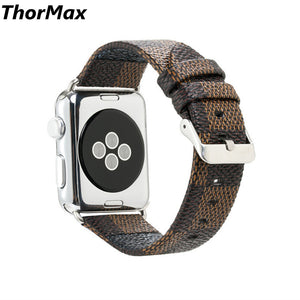 Hot Selling Chequer Design Leather Band For Apple Watch Series 1/2/3 Bracelet Strap 38/42Mm Size For Iwatch Thormax - Goamiroo Store