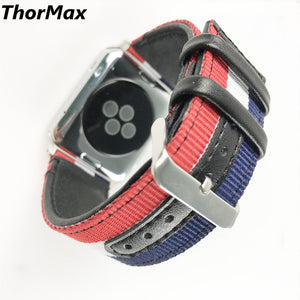 Thormax Woven Oxford Bracelet For Apple Watch Genuine Leather Leisure Watchband Series 1 Series 2/3 38/42Mm Replacement Strap - Goamiroo