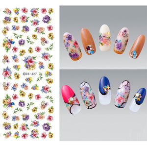 Flower Series Nail Water Decal Stickers Sakura Daisy Lavender Floral Pattern Transfer Sticker Manicure - Goamiroo Store