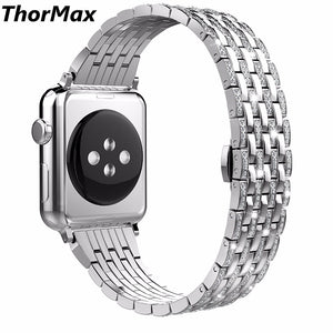 Crystal Rhinestone Diamond Luxury Stainless Steel Bracelet Watch Band Strap Watch Bands For Apple Watch Series 1/2/3 38/42Mm - Goamiroo
