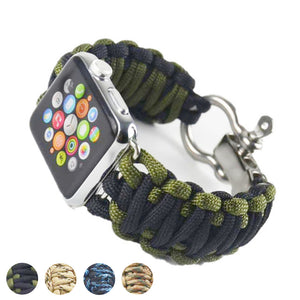 Sport Nylon Strap Umbrella Rope Linen Bracelet For Apple Watch Survival 42Mm 38Mm Series 1/2 Series 3 Outdoor Woven Watchband - Goamiroo