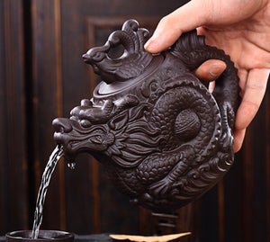 Authentic Teapot Dragon And Phoenix Tea Pot Big Capacity Purple Clay Tea Set Kettle Kung Fu Teapot - Goamiroo Store