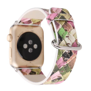 Thormax Colorful Woven Check Leather Band For Apple Watch Series 1/2/3 Strap Belt Watchband 38/42Mm Wrist Watch Bracelet - Goamiroo Store