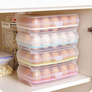 15 Eggs Storage Container Plastic Kitchen Refrigerator Food Keeper Fridge Tray-GoAmiroo Store