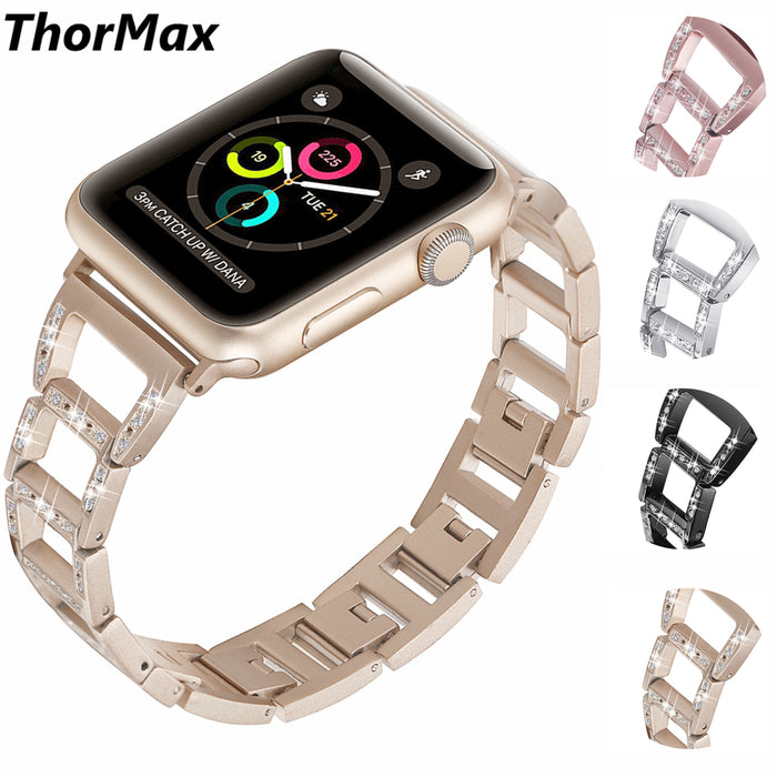 ThorMax stainless steel diamond chain Trapezoid shape bracelet for Apple Watch Band for iwatch Series 3 2 1 Sport 42MM 38MM