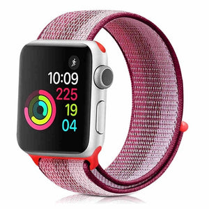 Color Striped Lightweight Soft Breathable Woven Strap Nylon Sport Loop Replacment Band For Apple Watch Series 1/2/3 38Mm/42Mm - Goamiroo