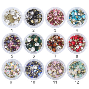 16 Patterns Nail Crystal Rhinestones Set Multi-size Sharp Bottom Mixed Color Manicure DIY-GoAmiroo Store