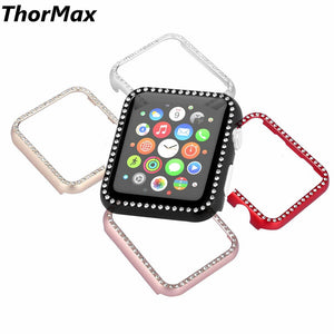 Thormax Metal Frame Shinny Bling Diamond-Embedded Watch Protect Case Cover For Apple Watch Series 1/2/3 Watch Accessories - Goamiroo Store