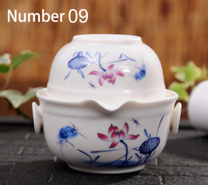 Ceramics Tea Set Include 1 Pot 1 Cup High Quality Elegant Gaiwan Kung Fu Teaset - Goamiroo Store