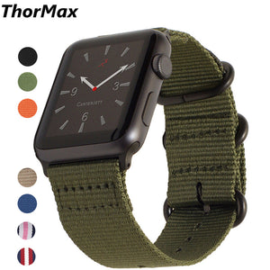 Thormax Leisure Nylon Band With Three-Ring Buckle For Apple Watch Series 1/ 2 Series 3 Bracelet 38/42Mm For Iwatch Woven - Goamiroo Store