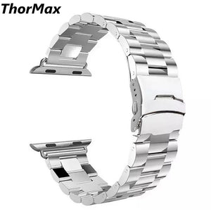 Thormax New Design Black/ Silver Stainless Steel Watchband Bracelet For Apple Watch 38Mm/42Mm - Goamiroo Store