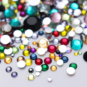 2000Pcs Nail Rhinestones Colorful Crystal Mixed Size Nail Studs Manicures 1 Bag-GoAmiroo Store