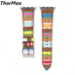 Thormax Watchband Wooden Texture Leather Band Replacement Strap For Apple Watch Series1 And Series2 Band 38Mm/42Mm - Goamiroo Store