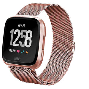 For Fitbit Versa Bands For Men Milanese Loop Stainless Steel Metal Replacement Bracelet Strap With Uniquemagnet Lock Accessories - Goamiroo