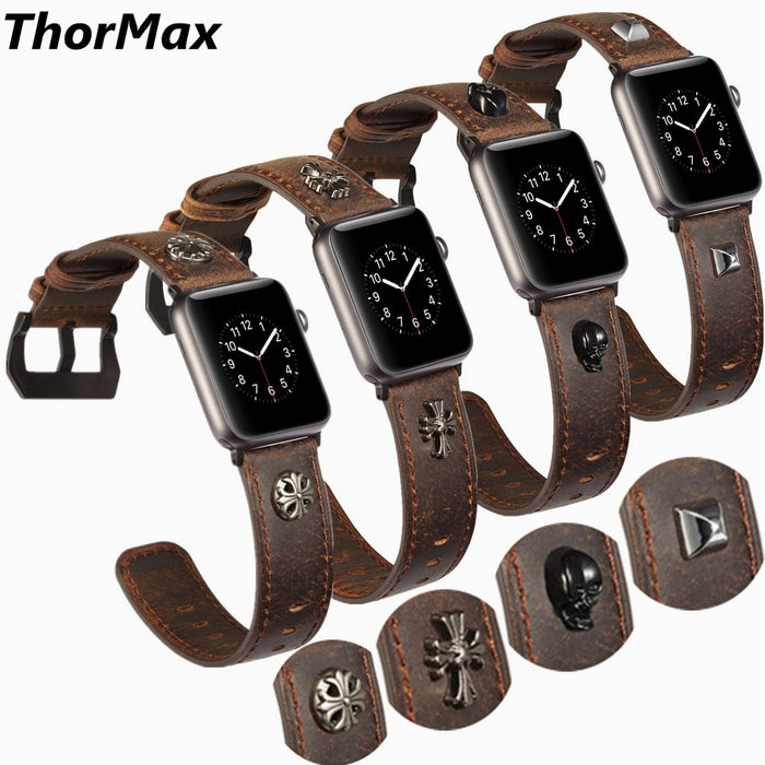 Genuine Leather Punk Series Skull Shield Cross Pattern bracelet for Apple Watch Series 1/2/3 Watchband Replacement Strap 38/42mm