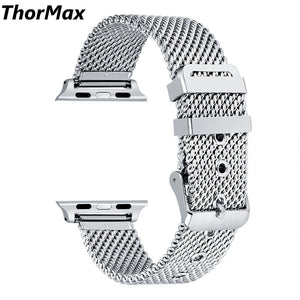 Thormax Coarse Mesh Stainless Steel Strap Watchband For Apple Watch Series 1 Series 2 Series 3 With Classic Buckle 38/42Mm - Goamiroo Store
