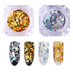 Ab Color Nail Glitter Flakies Irregular Star Round Iridescent Sequins Powder Chrome - Goamiroo Store