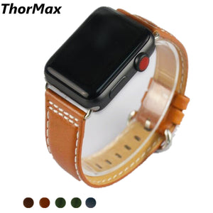 Thormax 5 Color Genuine Leather Round Buckle Retro Band For Apple Watch Series 1/2/3 Watchband Replacement Strap Men/women 38/42 - Goamiroo