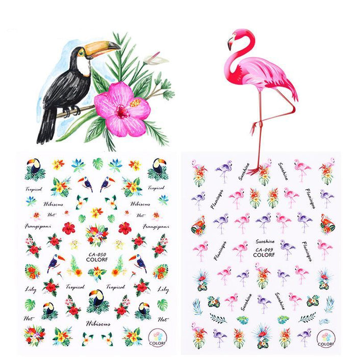 Flamingo Unicorn Nail Stickers Animal Series Water Decal Ocean Cat Plant Pattern 3D Manicure Sticker