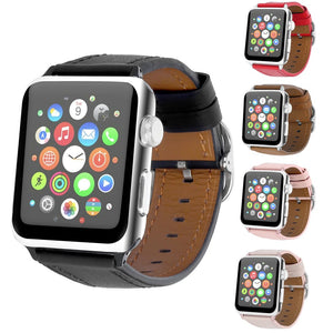 Thormax For Apple Watch Genuine Leather Strap 5 Colors Classic Buckle Bracelet Replacement Men/women Watchband 38Mm/42Mm - Goamiroo Store