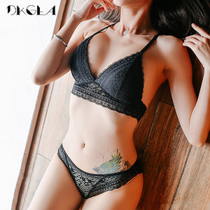 New Young Girl Seamless Vest Bra Set Plus Size 38 36 Ultrathin Cotton Women Lingerie Sexy Embroidery Lace Underwear Sets Black - Goamiroo