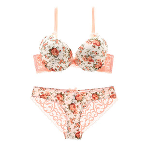 b200ea526407 Vintage Underwear Women Set Bow Rose Satin panties Bra sets Thick ...
