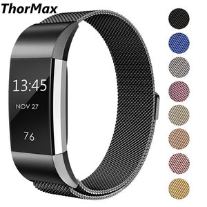 For Fitbit Charge 2 Bands Milanese Loop Stainless Steel Metal Replacement Bracelet Strap With Unique Magnet - Goamiroo Store