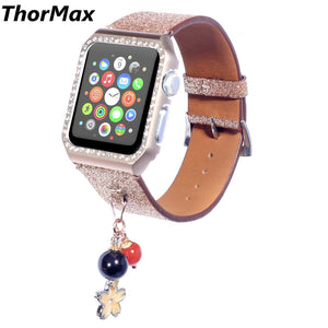 Thormax 2 In 1 Shiny Bling Strap With Beads Pendant For Apple Watch Series 1/2/3 Watchband Wristband Bracelet(With Diamond Case) - Goamiroo